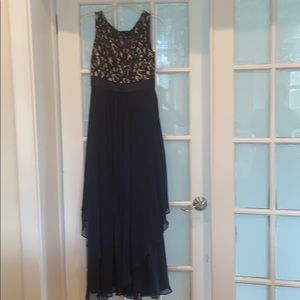 Navy blue and lace long formal dress